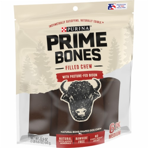 Purina Prime Bones Bison Dog Treat Chew Sticks Perspective: front