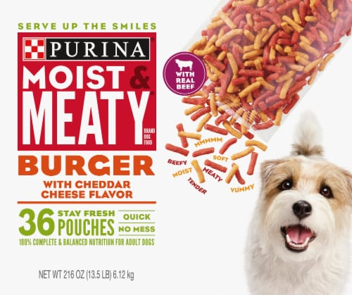 Moist & Meaty Burger with Cheddar Cheese Flavor Dry Dog Food Stay Fresh Pouches Perspective: front