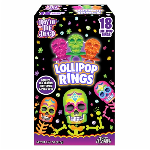 Flix Decorated Sugar Skull Lollipop Rings Perspective: front