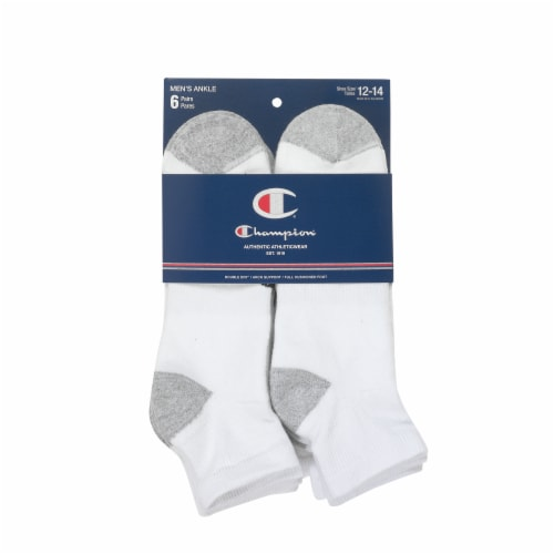 Champion Performance Men's King-Size Crew Athletic Socks - White/Gray - 6 pk Perspective: front