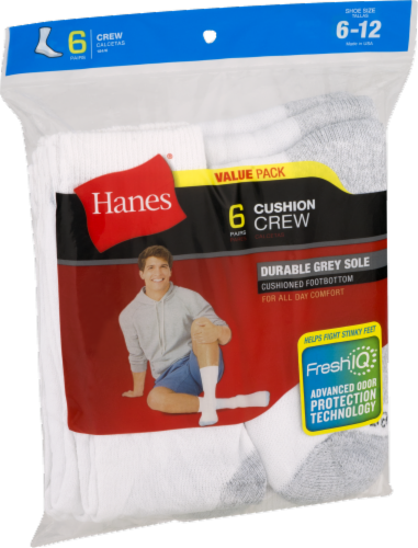 Hanes Men's Cushion Crew Socks - 6 pk - White Perspective: front