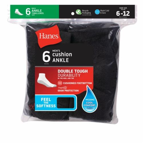 Hanes Men's Cushion Ankle Socks - 6 pk - Black Perspective: front