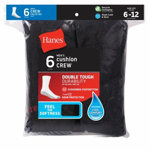 Hanes Men's Cushion Crew Socks - 6 pk - Black Perspective: front