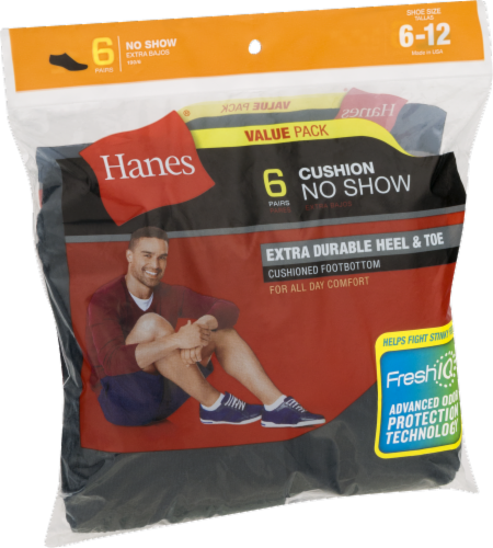 Hanes Men's Cushion No-Show Socks - 6 pk - Black Perspective: front