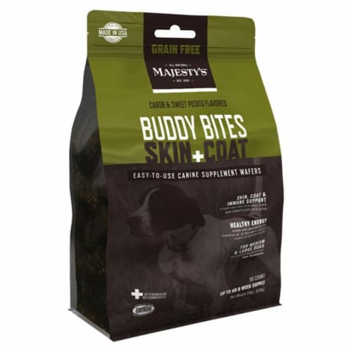 Majestys MBBSCGF28 Buddy Bites Skin & Coat, Grain-Free Formula Carob & Sweet Potato - 28 coun Perspective: front