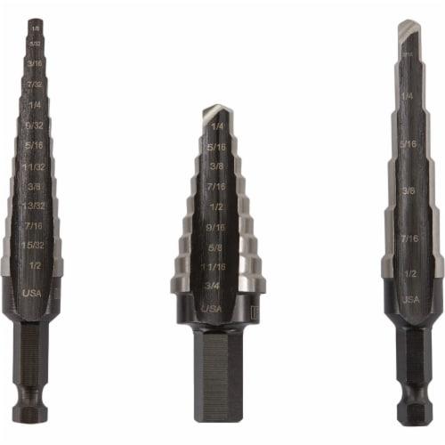 Irwin Step Drill Bit Set, 3 pcs.,Bright,HSS HAWA 10502ZR Perspective: front