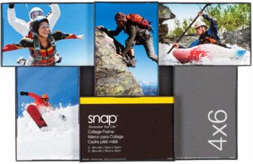 Pinnacle Snap 6-Opening Collage Picture Frame - Black Perspective: front