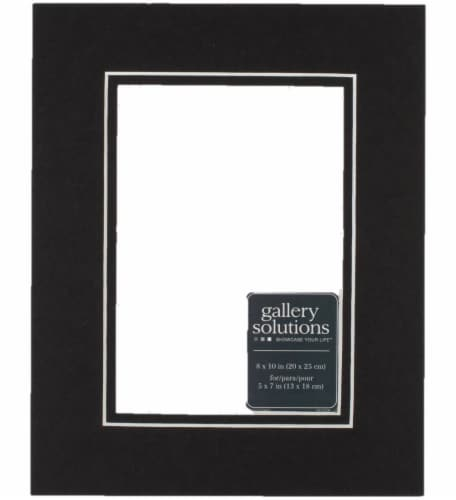 Pinnacle Gallery Solutions 8 x 10 Picture Frame with 5 x 7 Double Mat - Black/Black Perspective: front