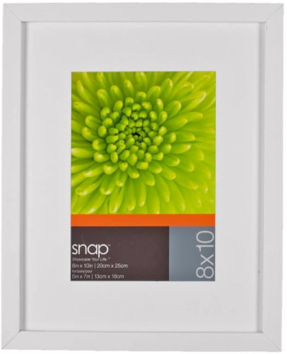 Pinnacle Snap Matted Picture Frame - White Perspective: front