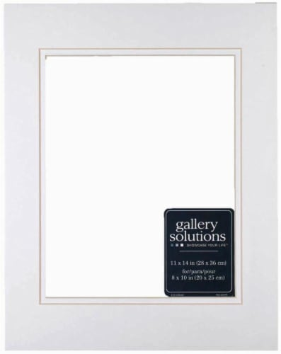 Pinnacle Gallery Solutions 11 x 14 Picture Frame with 8 x 10 Double Mat - White/White Perspective: front