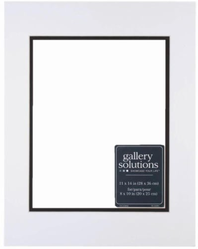 Pinnacle Gallery Solutions 11 x 14 Picture Frame with 8 x 10 Double Mat - White/Black Perspective: front