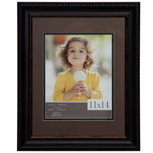 Pinnacle Gallery Solutions 11 x 14 Picture Frame with 8 x 10 Mat - Brown/Black Perspective: front