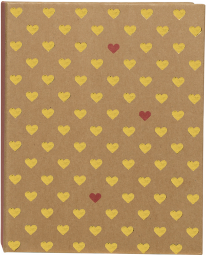 Pinnacle Two Tone Heart Photo Album - Tan/Yellow/Red Perspective: front