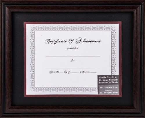 Gallery Solutions Certificate of Achievement with Frame - Rosewood/Black Perspective: front