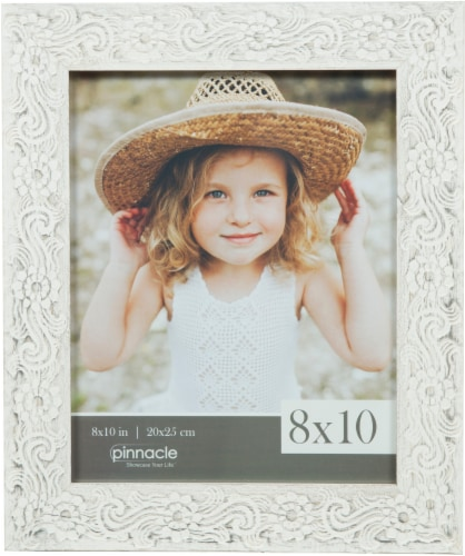 Pinnacle Flower Scroll Picture Frame - White Perspective: front