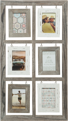 Pinnacle Gallery Solutions 6-Opening 15 x 28 Hanging Collage Picture Frame - Light Brown/White Perspective: front