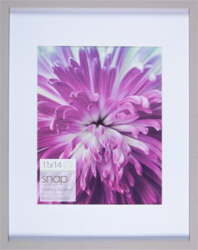 Pinnacle Snap Picture Frame with White Mat - Gray Perspective: front