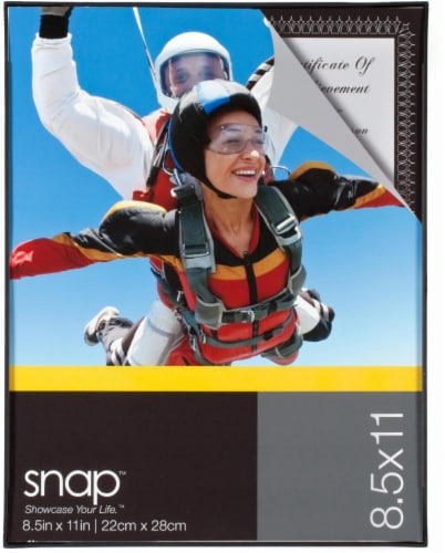 Pinnacle Snap Front-Loading Picture Frame - Black Perspective: front