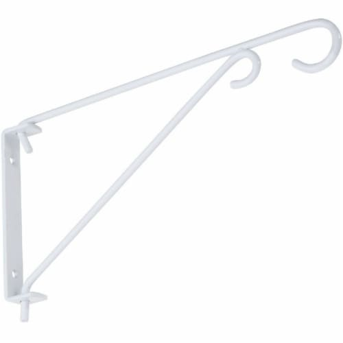 National 9 In. White Steel Swivel Hanging Plant Bracket N274779 Perspective: front