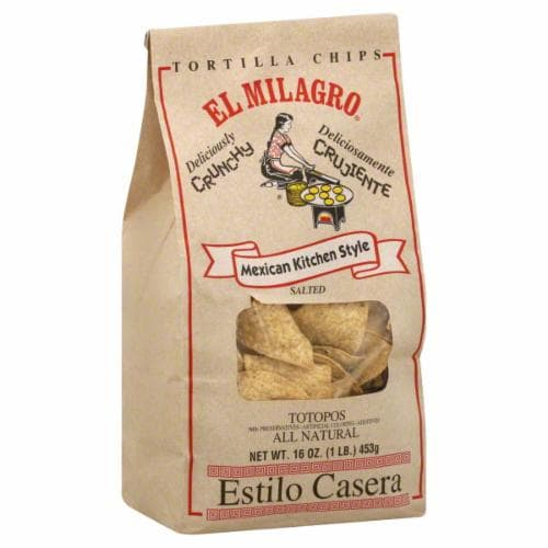 El Milagro Tortilla Chips Totopos Perspective: front