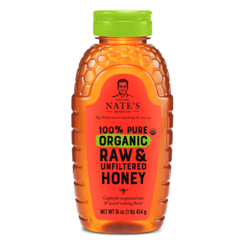 Nature Nate's 100% Pure Organic Raw & Unfiltered Honey Perspective: front