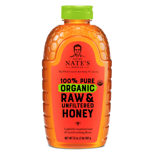 Nature Nate's Organic Raw & Unfiltered Honey Perspective: front