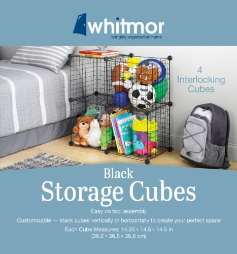 Whitmor 4 Interlocking Storage Cubes - Black Perspective: front