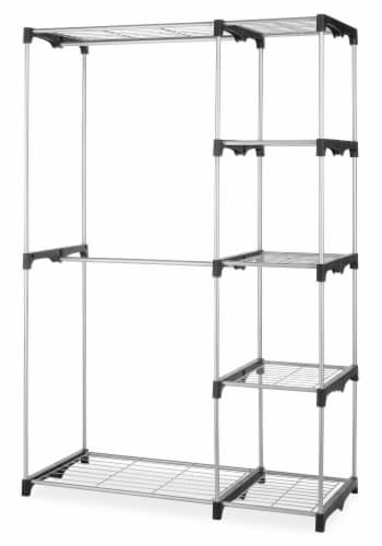Whitmor Double Rod Closet Organizer Kit - Silver/Black Perspective: front