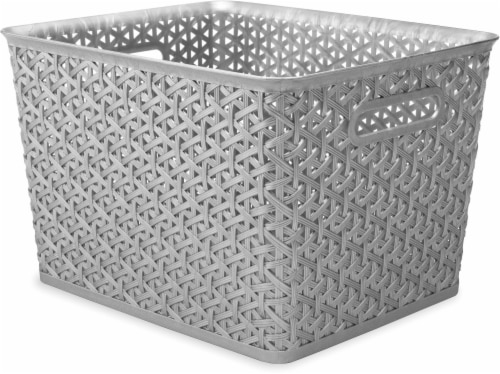Whitmor Large Resin Form Tote - Silver Perspective: front