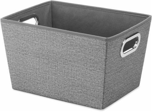 Whitmor Small Fashion Fabric Tote - Crosshatch Gray Perspective: front