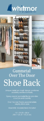 Whitmor Over-The-Door Hanging Shoe Rack - Gunmetal Perspective: front