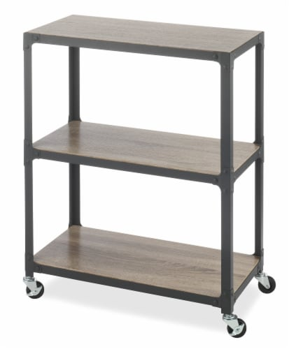 Whitmor 3 Tier Metal & Wood Cart - Gunmetal Perspective: front