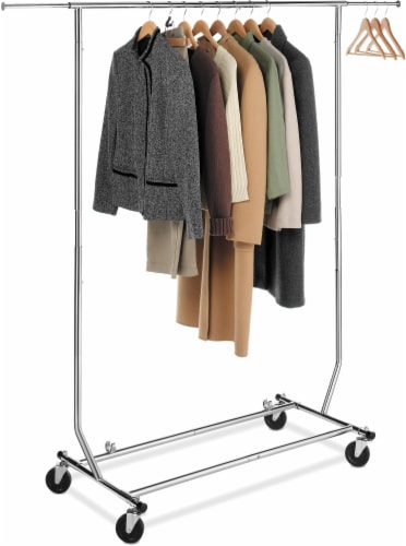 Whitmor Chrome Commercial Folding Garment Rack - Silver Perspective: front