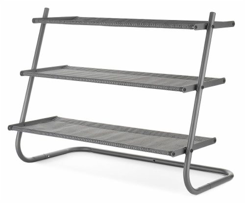 Whitmor 3-Tier Shoe Shelves - Gray Perspective: front