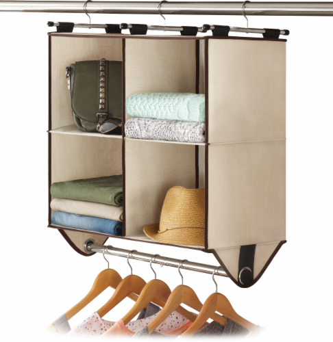 Whitmor 4-Section Canvas Closet Organizer - Beige Perspective: front