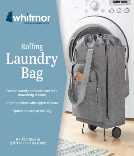 Whitmor Rolling Laundry Bag - Gray Perspective: front