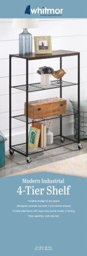 Whitmor Modern Industrial 4-Tier Portable Storage Shelf - Natural/Black Perspective: front