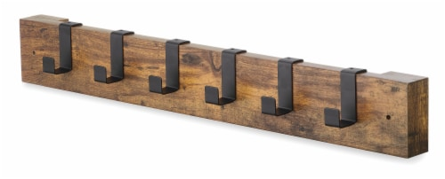 Whitmor 6-Hook Modern Industrial Wall Mounted Wooden Coat Rack Perspective: front