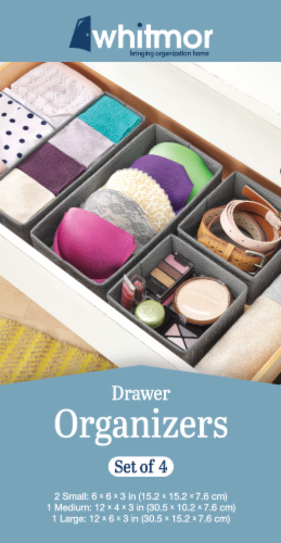 Whitmor Drawer Organizers - Gray Perspective: front