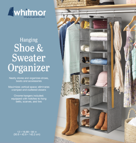 Whitmor Hanging Shoe & Sweater Organizer - Gray Perspective: front