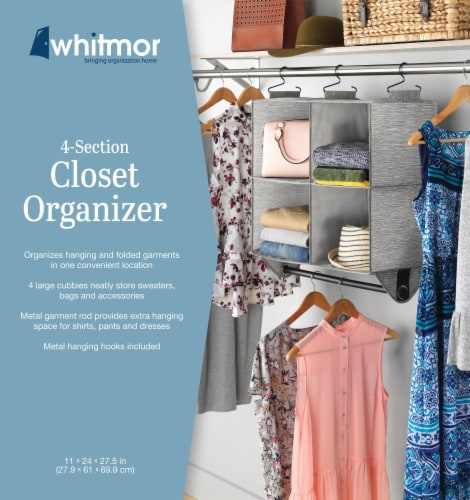 Whitmor 4 Section Organizer With Closet Rod - Space Dyed Perspective: front