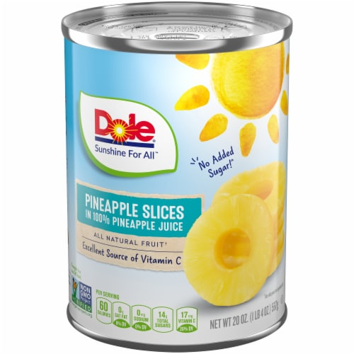 Dole Pineapple Slices in 100% Pineapple Juice Perspective: front