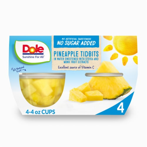 Dole No Sugar Added Pineapple Tidbits Cups Perspective: front
