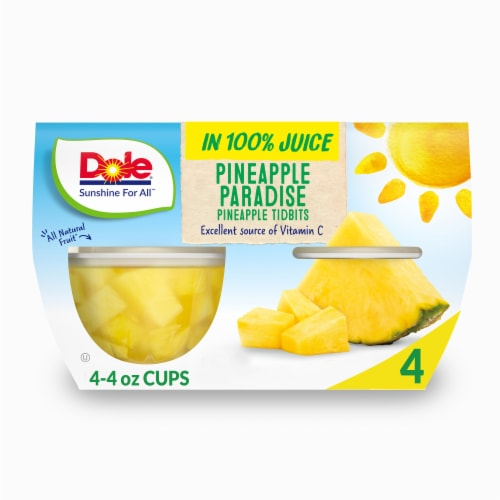 Dole Pineapple Tidbits in 100% Pineapple Juice Perspective: front