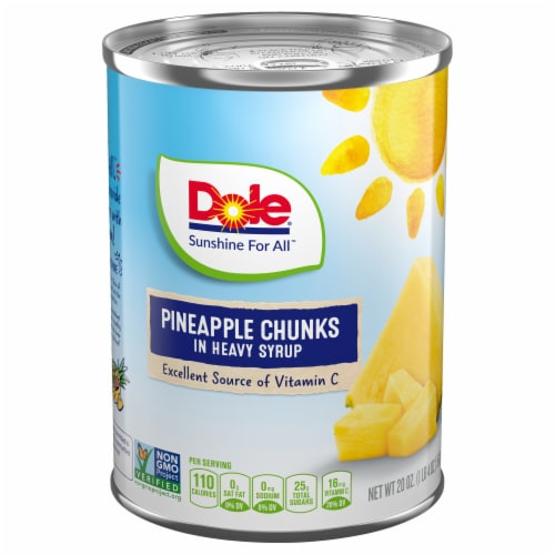 Dole Pineapple Chunks in Heavy Syrup Perspective: front