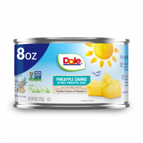 Dole Canned Pineapple Chunks in 100% Pineapple Juice Perspective: front