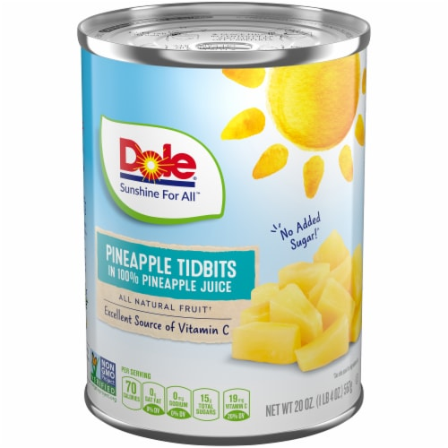 Dole Canned Pineapple Tidbits in 100%  Pineapple Juice Perspective: front