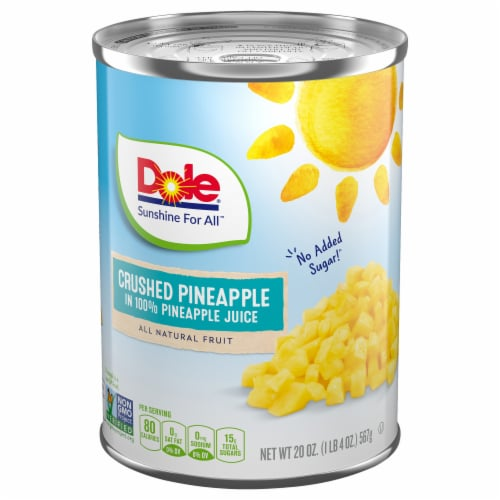 Dole Canned Crushed Pineapple in 100% Pineapple Juice Perspective: front