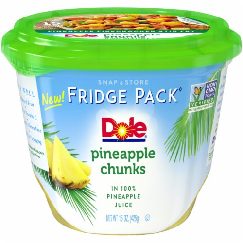 Dole Fridge Pack Pineapple Chunks in 100% Pineapple Juice Perspective: front