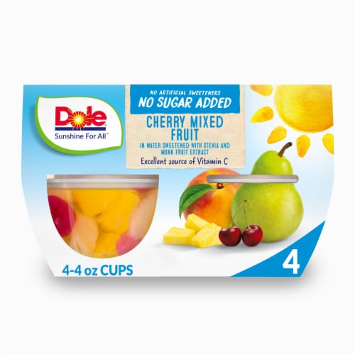 Dole No Sugar Added Cherry Mixed Fruit Cups Perspective: front